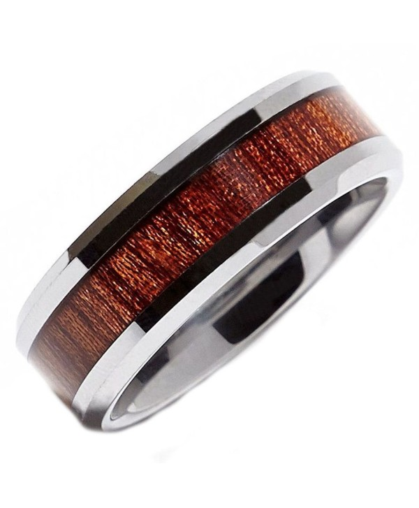 MJ 8mm Tungsten Carbide Rosewood Inlay Wedding Ring Comfort Fit - CU11LQACS5J