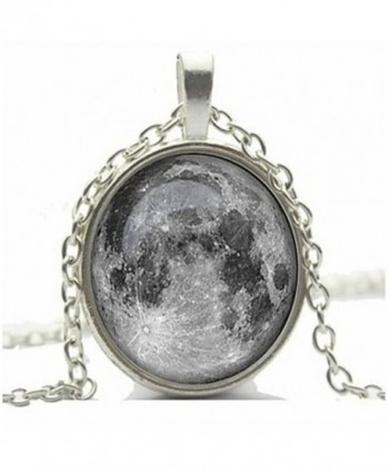 CHOP MALL Moon Pendant Necklace Full Moon Galaxy Glass Cabochon Necklace - CB11U5SB5FD