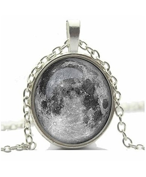 CHOP MALL Moon Pendant Necklace Full Moon Galaxy Glass Cabochon Necklace - CB11U5SB5FD