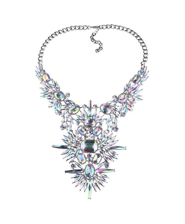 NABROJ 2 Colors 1 PC Women Statement Necklace Crystal Bib Collar Choker Novelty Jewelry With Gift Box - Crystal - CH18672XG4U