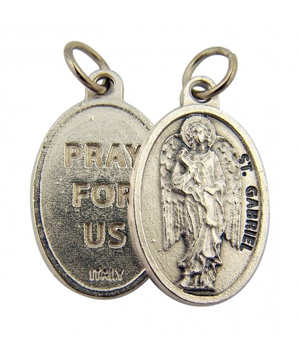 Silver Toned Base Archangel Saint Gabriel Pray for Us Medal Pendant- 1 Inch - CW11C6K6ABV