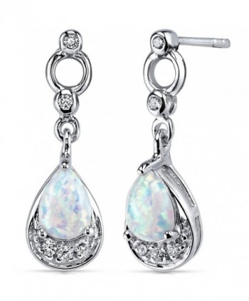 Created Opal Dangle Earrings Sterling Silver 1.00 Carats - CB11NK4X9XZ