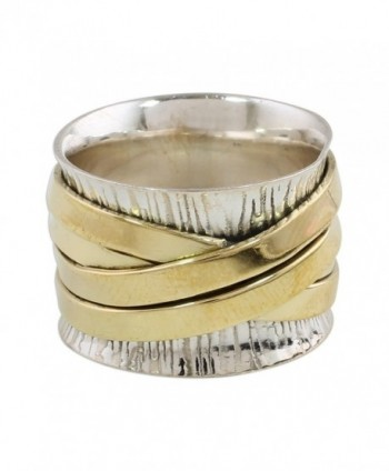 NOVICA .925 Sterling Silver Brass Band Ring 'Crisscrossing Grace' - CM18638EC24