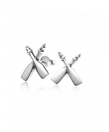 925 Sterling Silver Rowing Rafting Paddles Post Stud Earrings 12 mm - Nickel Free - C611K3Z9VO5