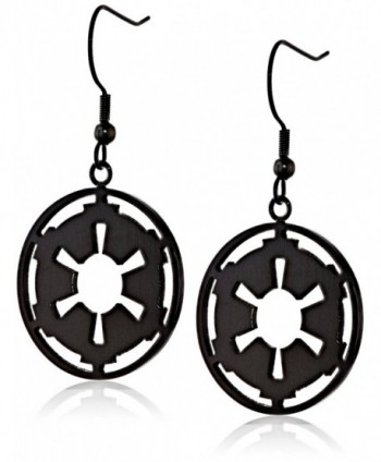 Star Wars Jewelry Imperial Symbol Stainless Steel Black IP Dangle Drop Earrings - C411R99SR5H