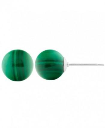 Trustmark 14k White Gold 8mm Natural Green Malachite Ball Stud Earrings - CX11KO9E3L1