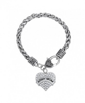 Army Mom Clear Crystal Heart Charm Bracelet Women Jewelry - CB12G8GSOKJ