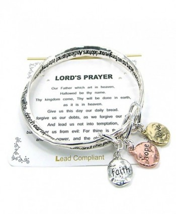 Lord's Prayer Twist Bangle Faith Hope Love Inspirational Charm Bracelet - CE180K5TRW3