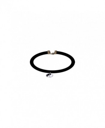 Velvet Design Choker Necklaces with Ying Yang Charm - CI12NRFFG6V