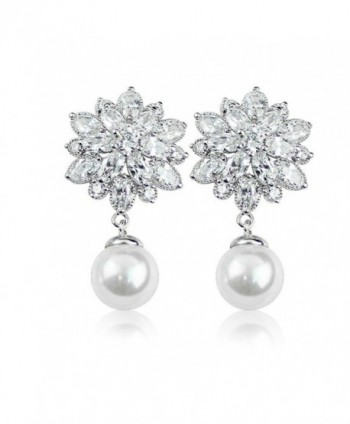 Merdia Charming Stud Earrings with Silver Earring Pin Simulated Pearl 12MM - CB12NRTLFHS