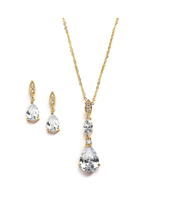 Mariell Best-Seller 14K Gold Plated Pear-Shaped CZ Bridal- Bridesmaids or Prom Necklace and Earring Set - C0121O5FOSJ