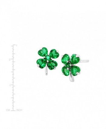Shamrock Clover Earrings Zirconia Sterling in Women's Stud Earrings