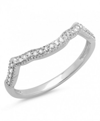 0.15 Carat (ctw) Sterling Silver Round Real Diamond Ladies Wedding Stackable Matching Band Guard Ring - CN11GSTO4GF