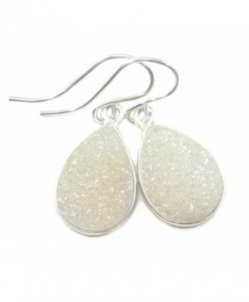 Sterling Silver Drusy Earrings White Druzy Teardrop Silvertone Bezel Set Simple Drops - C9120Y9101L