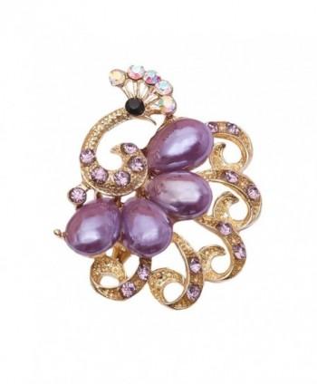 Brooch Jewelry Rhinestones Crystal Gem Bling Novelty Fashion Pin - Peacock Purple - CM187QLQ5UC