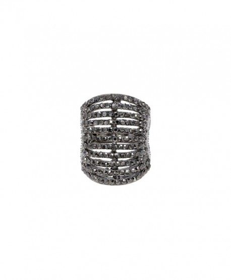 11 Rows Ring Fashion Crystal Cocktail Wedding Party Jewelry for women - Black - CT1899A7UY3