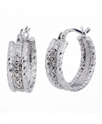 Sterling Silver Diamond Hoop Earrings (1/10 cttw) - C111B7XJCAJ