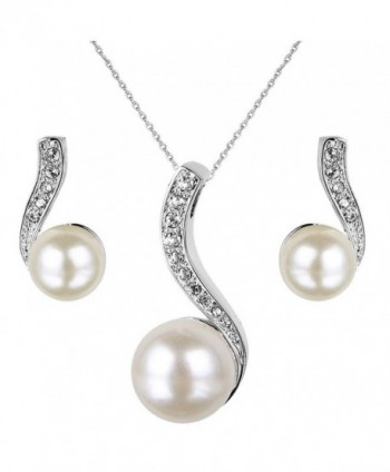EleQueen Simulated Necklace Earrings Silver tone - Silver-tone - CG121TR8JLB
