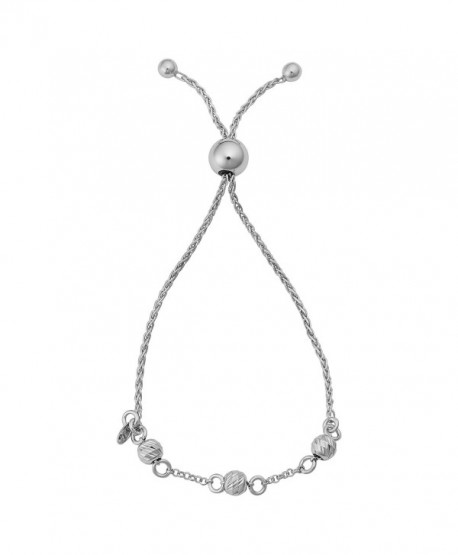 "Sterling Silver Diamond-cut Beads Wheat Adjustable Length Slide Bracelet (up to 8"") - CG12M1P9ACV"