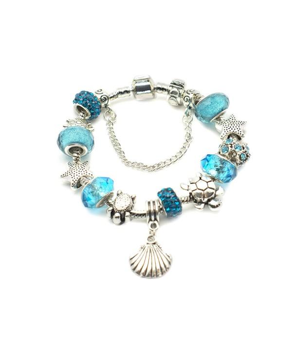 European Ocean Beach Charm Beaded Bracelet for Women and Teen Girls Starfish Sea Turtle 925 Silver Plated - C912DPNJ5UB