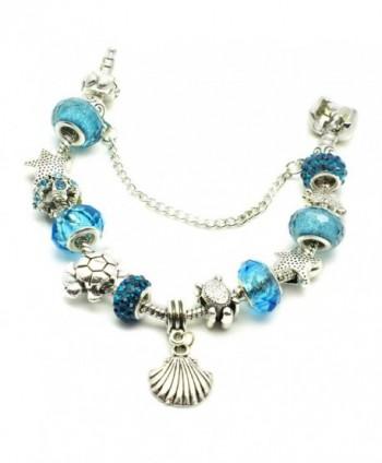 European Bracelet Seashell Starfish Aquamarine