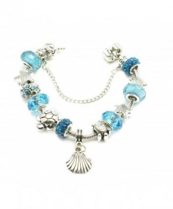 European Bracelet Seashell Starfish Aquamarine in Women's Charms & Charm Bracelets