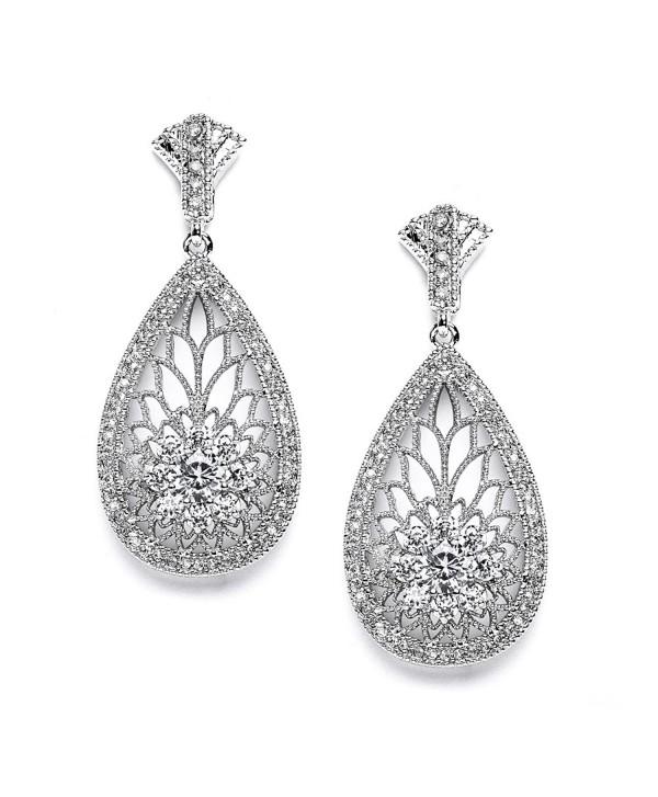 Mariell Art Deco Vintage CZ Wedding Earrings for Brides - Retro 1920's Platinum Plated Bridal Chandeliers - CX121T310J3