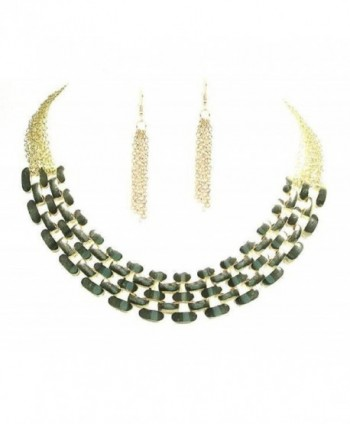 Fashion Costume Jewelry Tribal Tab Goldtone Statement Necklace Earring Jewelry Set for Women - CG11Q7SZ9Z7