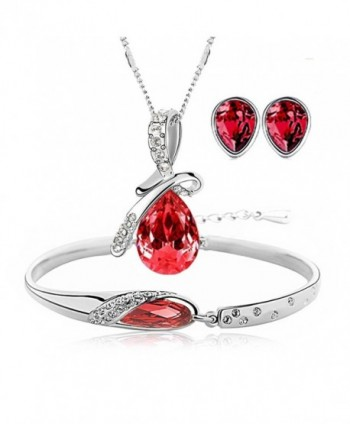 Silver Tone Healing Crystal Rhinestone Drop Pendant Necklace- Bracelet- Earring Set for Women - Red - CC17Z4UC4KN