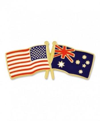 PinMart's USA and Australia Crossed Friendship Flag Enamel Lapel Pin - CX119PENCHH