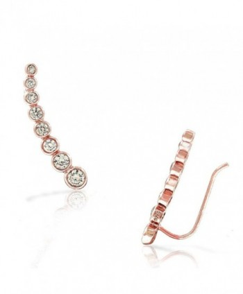 925 Sterling Silver Bezel-Set White CZ Ear Crawler Earrings - Pink - CR17YHOY7E8