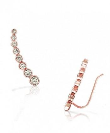 925 Sterling Silver Bezel-Set White CZ Ear Crawler Earrings - Pink - CR17YHOY7E8