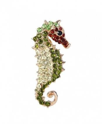 EVER FAITH Gold-Tone Seahorse Brooch Austrian Crystal Green - CF11DV8CURB