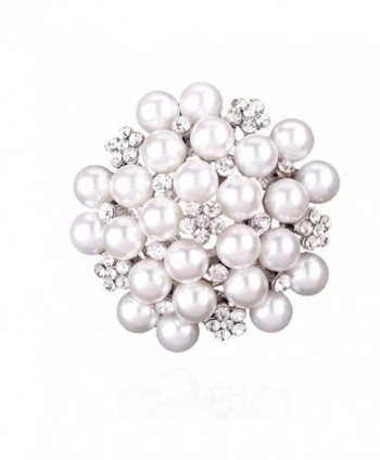 Elegant Pearl Floral Crystal Brooch Pin for Wedding Bridal - Silver - CC183II5MKT
