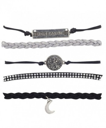 Lux Accessories Black Grey Dream It Celestial Crescent Moon Arm Candy Set 5PC - CI12LO54WWN