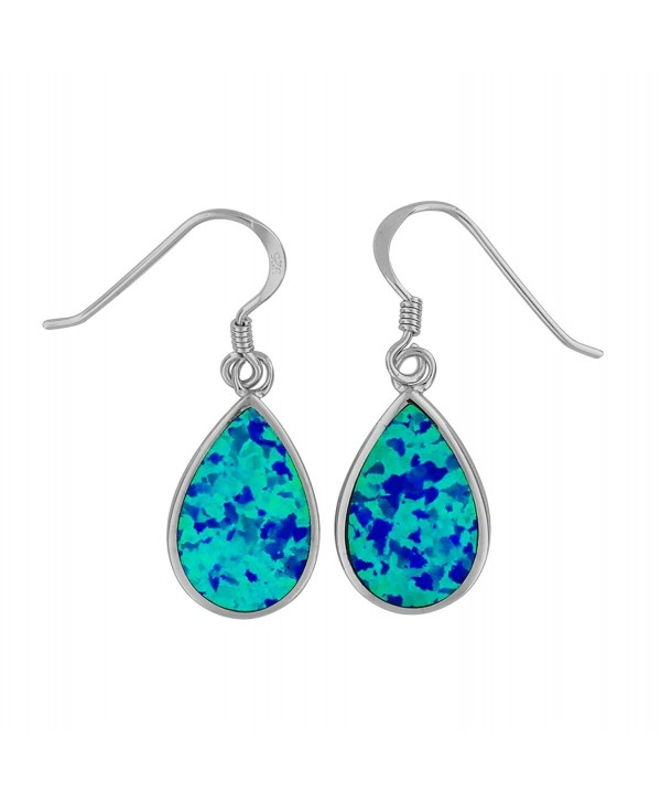 Sterling Silver Synthetic Blue Opal Teardrop Dangle Earrings - CL11KX4ZHWB