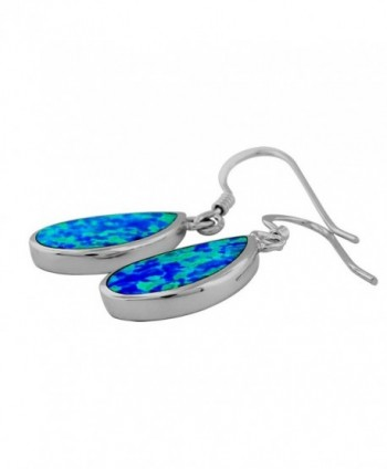 Sterling Silver Synthetic Teardrop Earrings in Women's Drop & Dangle Earrings