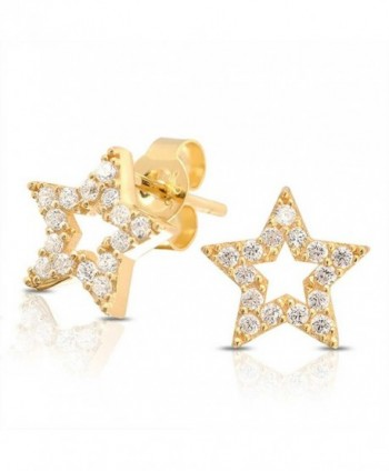 Bling Jewelry Pave CZ Open Star Stud earrings gold plated925 Sterling Silver 9mm - C811BLLIN17