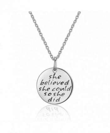 Sterling Engraved believed Inspirational Necklace - White Gold - CZ182KSHOK6
