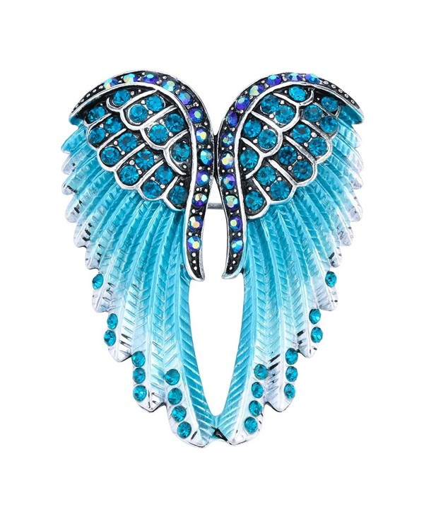 Hiddlston Crystal Guardian Angel Wing Jewelry Custom Brooch Pins For Women - Blue - C8187IEW3LG