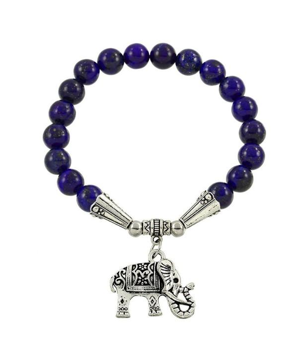 Falari Elephant Lucky Charm Natural Stone Bracelet Lapis Lazuli B2448-LAPS - CA124HGLQB1