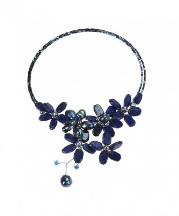 Reconstructed Lapis-Lazuli and Cultured Freshwater Black Pearls Floral Choker Necklace - C911PJ5I6LN