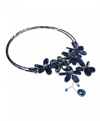 Reconstructed Lapis Lazuli Cultured Freshwater Necklace