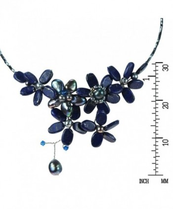 Reconstructed Lapis Lazuli Cultured Freshwater Necklace in Women's Choker Necklaces