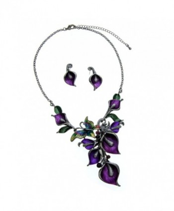 Purple Metal and Butterfly Crystal Statement Necklace and Earrings Set - CH110DFWV9R