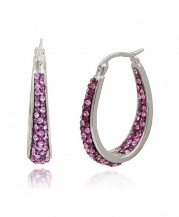 Carly Creations Women's Silver Plated Genuine Crystal Hoop Earring - Pink - CQ17Y26ZHI2