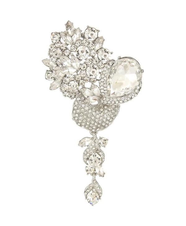 EVER FAITH Silver-Tone Crystal Rhinestone Floral Bride Dangle Brooch Pendant Clear - CI11YF2N1OD
