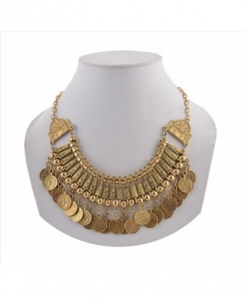 Zephyrr Fashion Coin Choker Turkish Style Necklace for Women Boho Gypsy - Golden - C612GGNHIVP