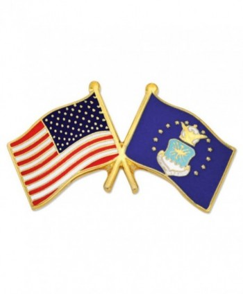 PinMart's USA and U.S. Air Force Crossed Friendship Flag Enamel Lapel Pin - CC11LBIXS1Z