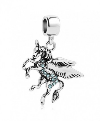 LilyJewelry Unicorn Dangel Charm Beads For European Bracelets - Blue - CR184QXNWLW